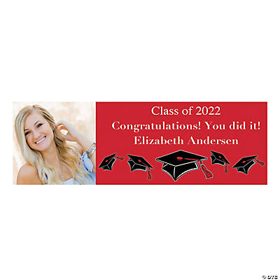 Medium Red Graduation Custom Photo Banner