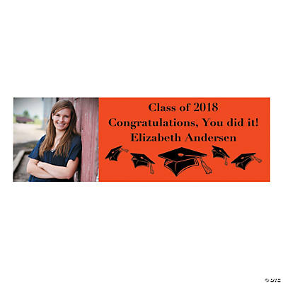 Large Orange Graduation Custom Photo Banner