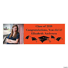Medium Orange Graduation Custom Photo Banner