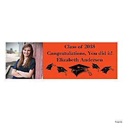Small Orange Graduation Custom Photo Banner
