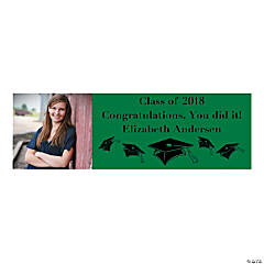 Small Green Graduation Custom Photo Banner