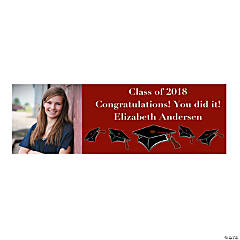 Large Burgundy Graduation Custom Photo Banner
