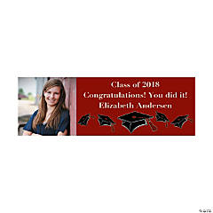 Small Burgundy Graduation Custom Photo Banner