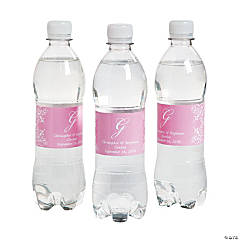 Script Monogram Light Pink Water Bottle Labels