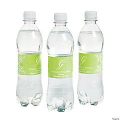 Paper Script Monogram Lime Green Water Bottle Labels