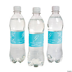 Script Monogram Light Blue Water Bottle Labels
