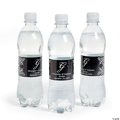 Script Monogram Black Water Bottle Labels