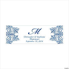 Personalized Medium Blue Monogram Script Banner