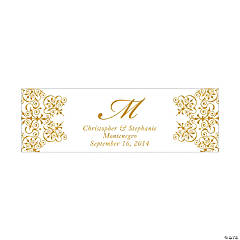 Personalized Medium Gold Monogram Script Banner