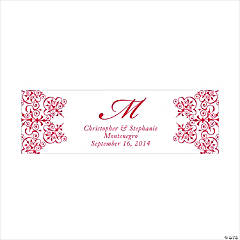 Personalized Medium Red Monogram Script Banner