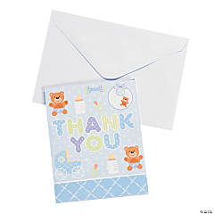 "Blue Teddy Bear Baby Shower ""Thank You"" Cards"