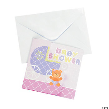 teddy baby pink baby shower invitations oriental trading
