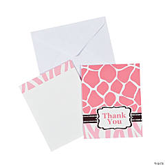 "Wild Safari Pink ""Thank You"" Cards"
