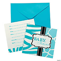 Wild Safari Blue Invitations