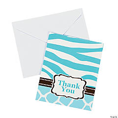 Wild Safari Blue Baby Shower Thank You Cards