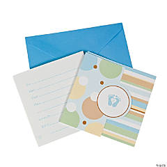 Tiny Toes Blue Invitations
