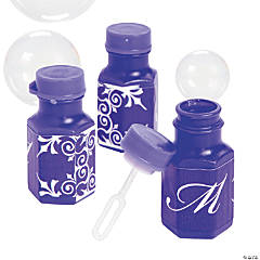 Purple Script Monogram Wedding Mini Bubble Bottles