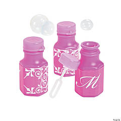 Hot Pink Script Monogram Wedding Mini Bubble Bottles