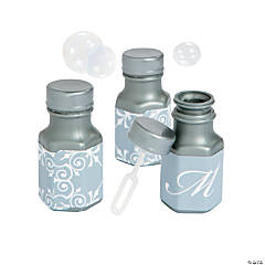 Silver Script Monogram Wedding Mini Bubble Bottles