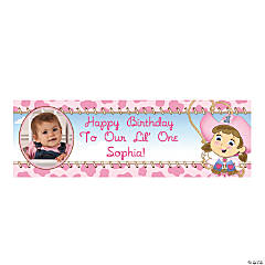 Small 1st Birthday Cowgirl Custom Photo Banner