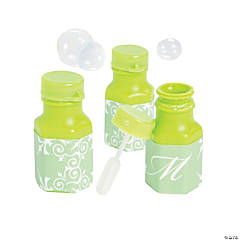 Lime Green Script Monogram Wedding Mini Bubble Bottles
