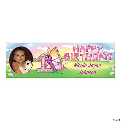 1st Birthday Butterfly Small Custom Photo Banner