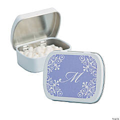 Personalized Lilac Blue Script Mint Tins