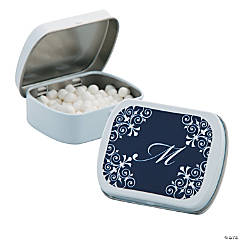 Personalized Navy Blue Script Mint Tins