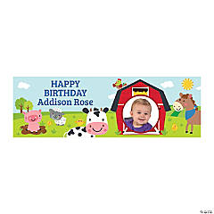 Small 1st Birthday Farm Custom Photo Banner