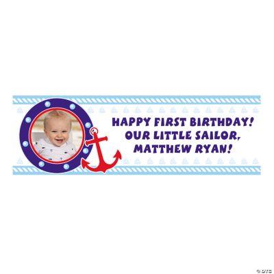 Medium 1st Birthday Sailor Custom Photo Banner