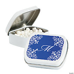 Personalized Blue Script Mint Tins