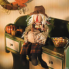 Plush Sitting Scarecrow with Pumpkin