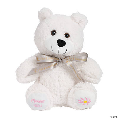"Personalized Plush ""Flower Girl"" Bear with Ribbon"