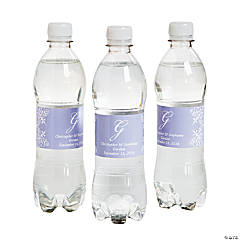 Script Monogram Lilac Water Bottle Labels
