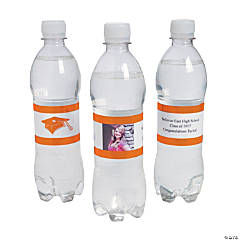 Custom Photo Class Of Water Bottle Labels - Orange