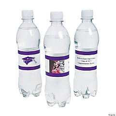 Custom Photo Class Of Water Bottle Labels - Purple