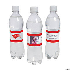 Custom Photo Class Of Water Bottle Labels - Red