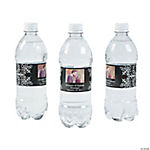 Custom Photo Wedding Water Bottle Labels - Black