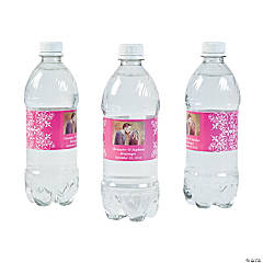 Custom Photo Wedding Water Bottle Labels - Hot Pink