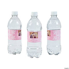 Custom Photo Wedding Water Bottle Labels - Light Pink