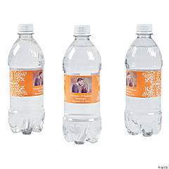 Custom Photo Wedding Water Bottle Labels - Orange