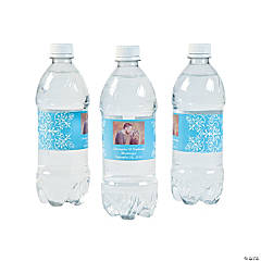 Custom Photo Wedding Water Bottle Labels - Light Blue