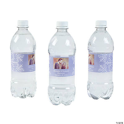 Custom Photo Wedding Water Bottle Labels - Lilac