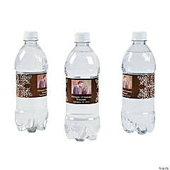 Custom Photo Wedding Water Bottle Labels - Chocolate Brown