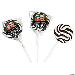 Black & White Wedding Custom Photo Swirl Pops