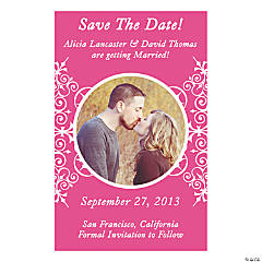 "Custom Photo Hot Pink Flourish ""Save the Date"" Magnets"