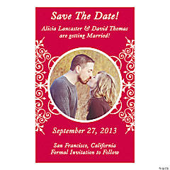 "Custom Photo Red Flourish ""Save the Date"" Magnets"