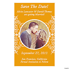 "Custom Photo Orange Flourish""Save the Date"" Magnets"