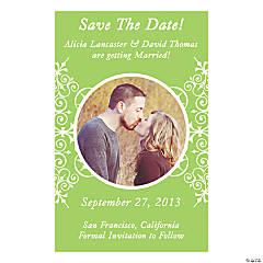 "Custom Photo Lime Flourish ""Save the Date"" Magnets"