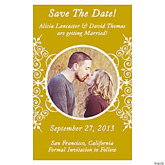 "Custom Photo Gold Flourish ""Save the Date"" Magnets"